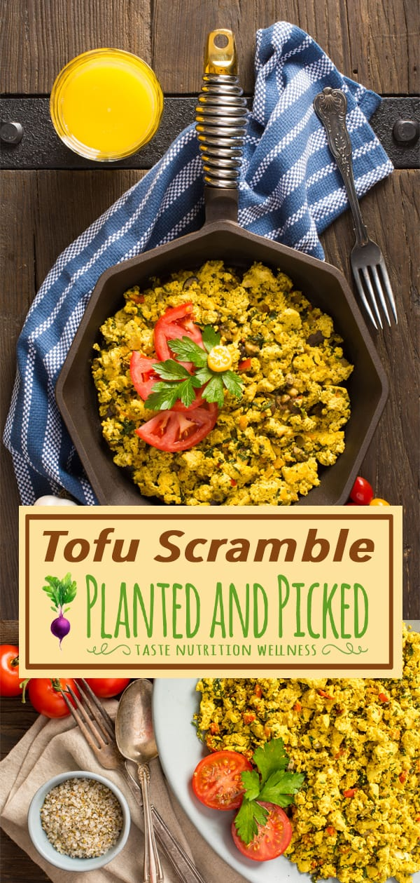 tofu scramble on plate and in pan next to orange juice in glass