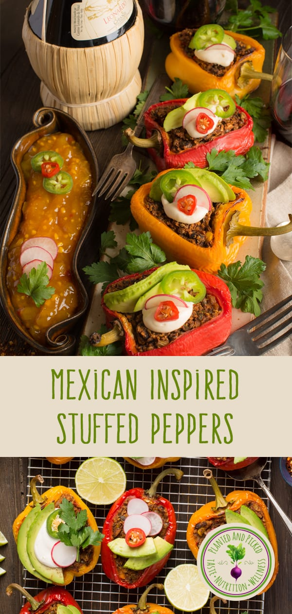 mexican style stuffed peppers with toppings and mango chutney on the side