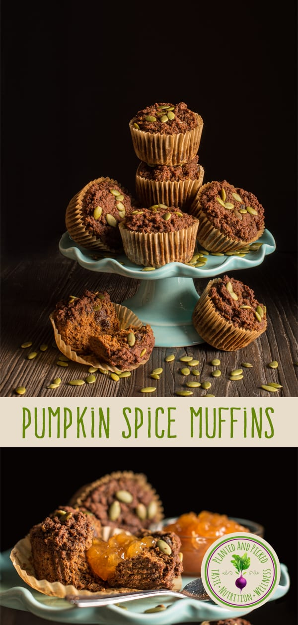 pumpkin spice muffins on cake stand with jam