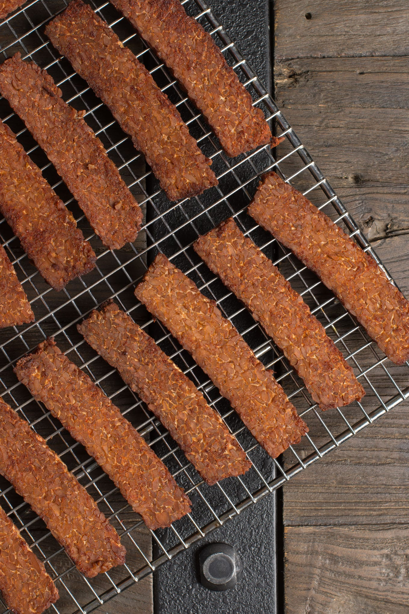 tempeh bacon on cooling rack