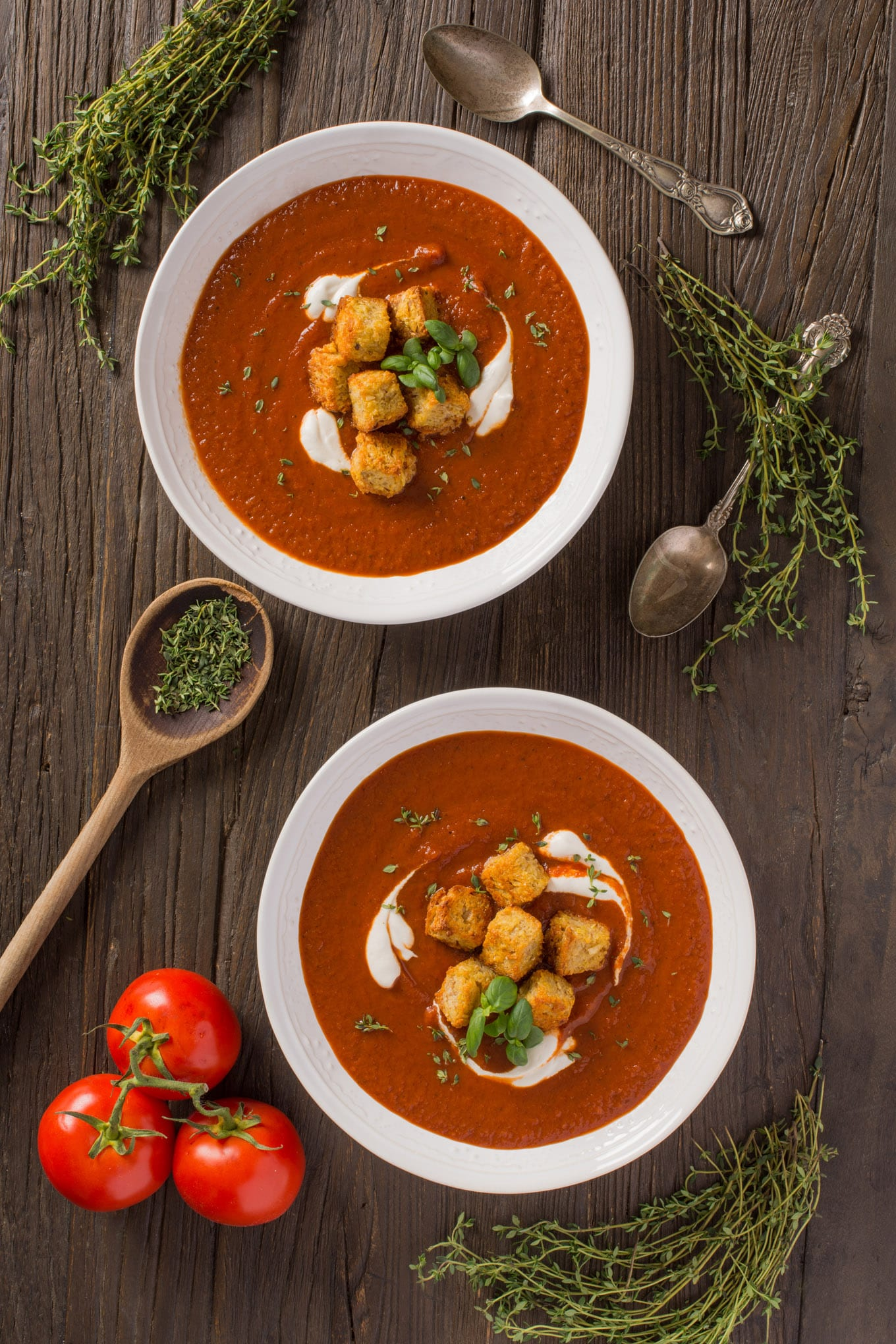 fire roasted tomato soup with croutons