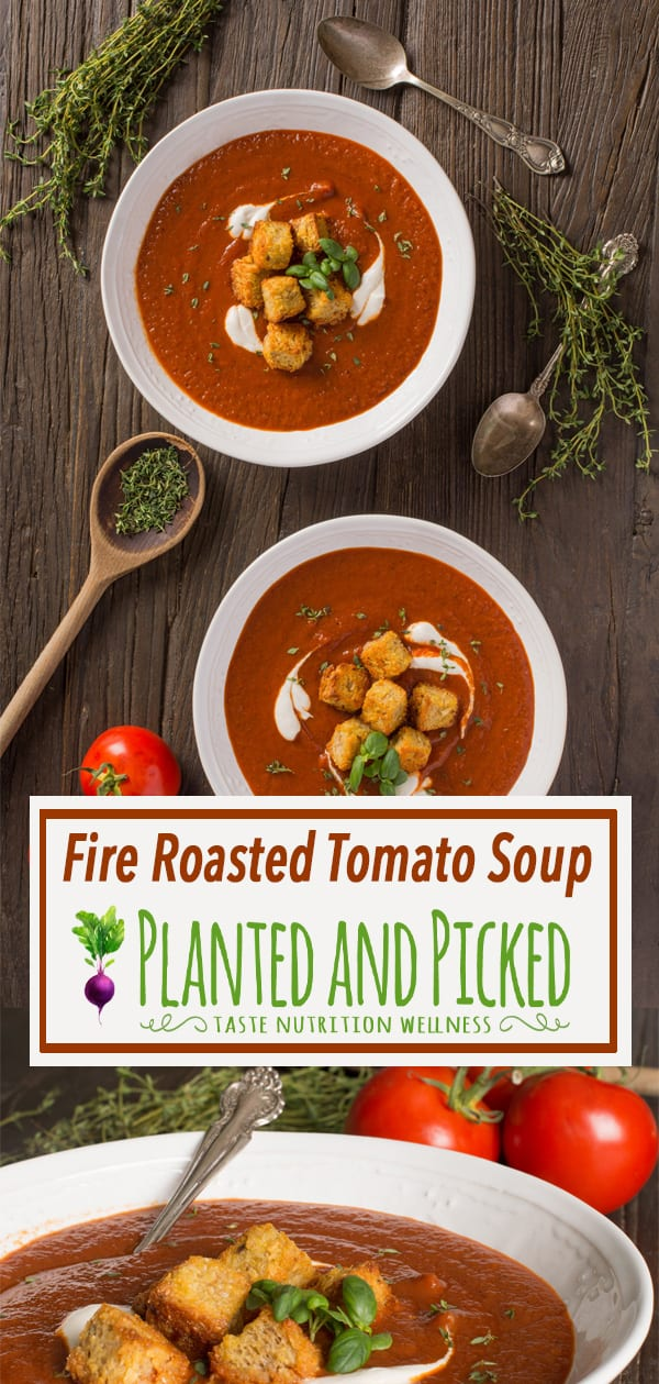 fire roasted tomato soup in bowls