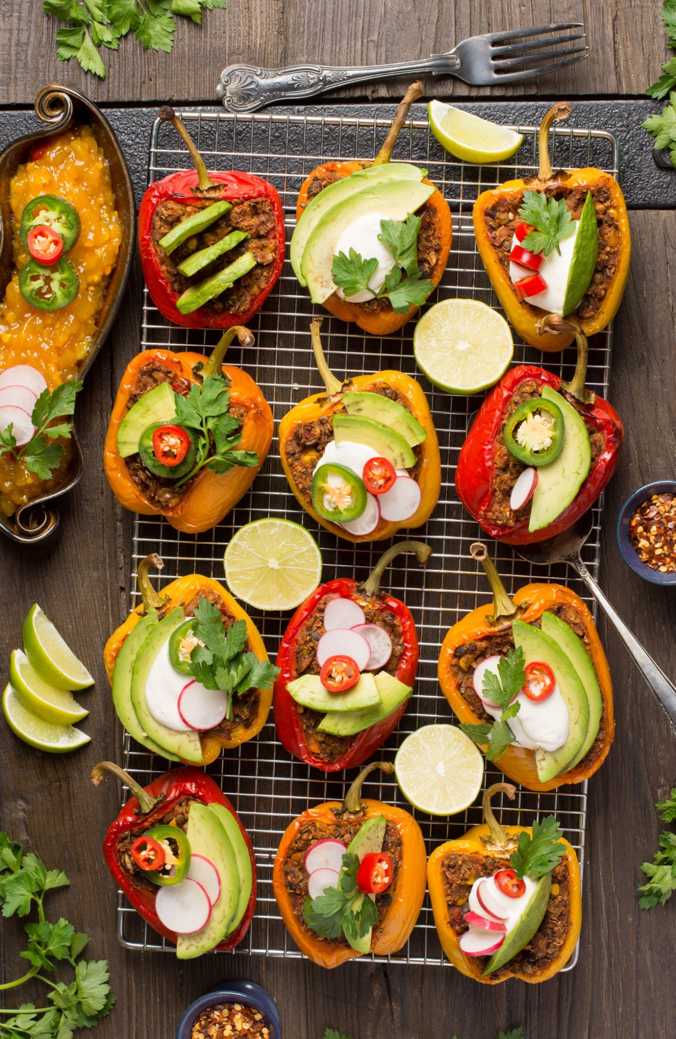 vegan Mexican stuffed peppers on cooling rack