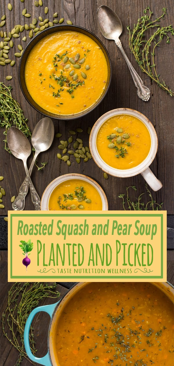 roasted squash and pear soup in bowl and mugs