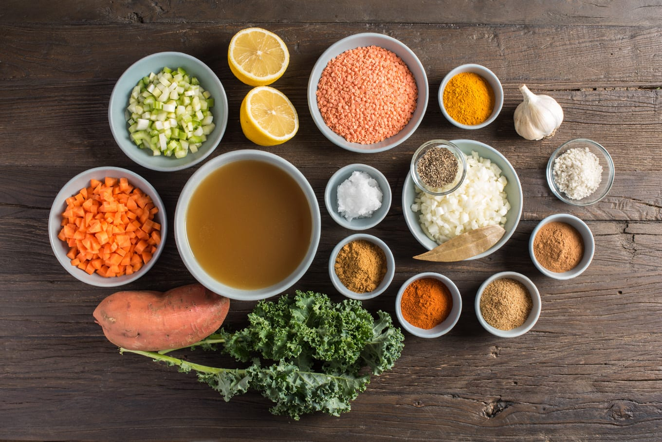 soup ingredients in bowls