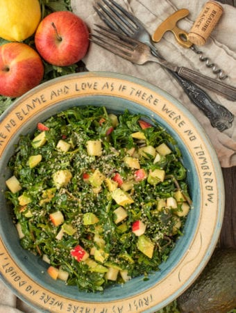 kale and avocado salad in bowl