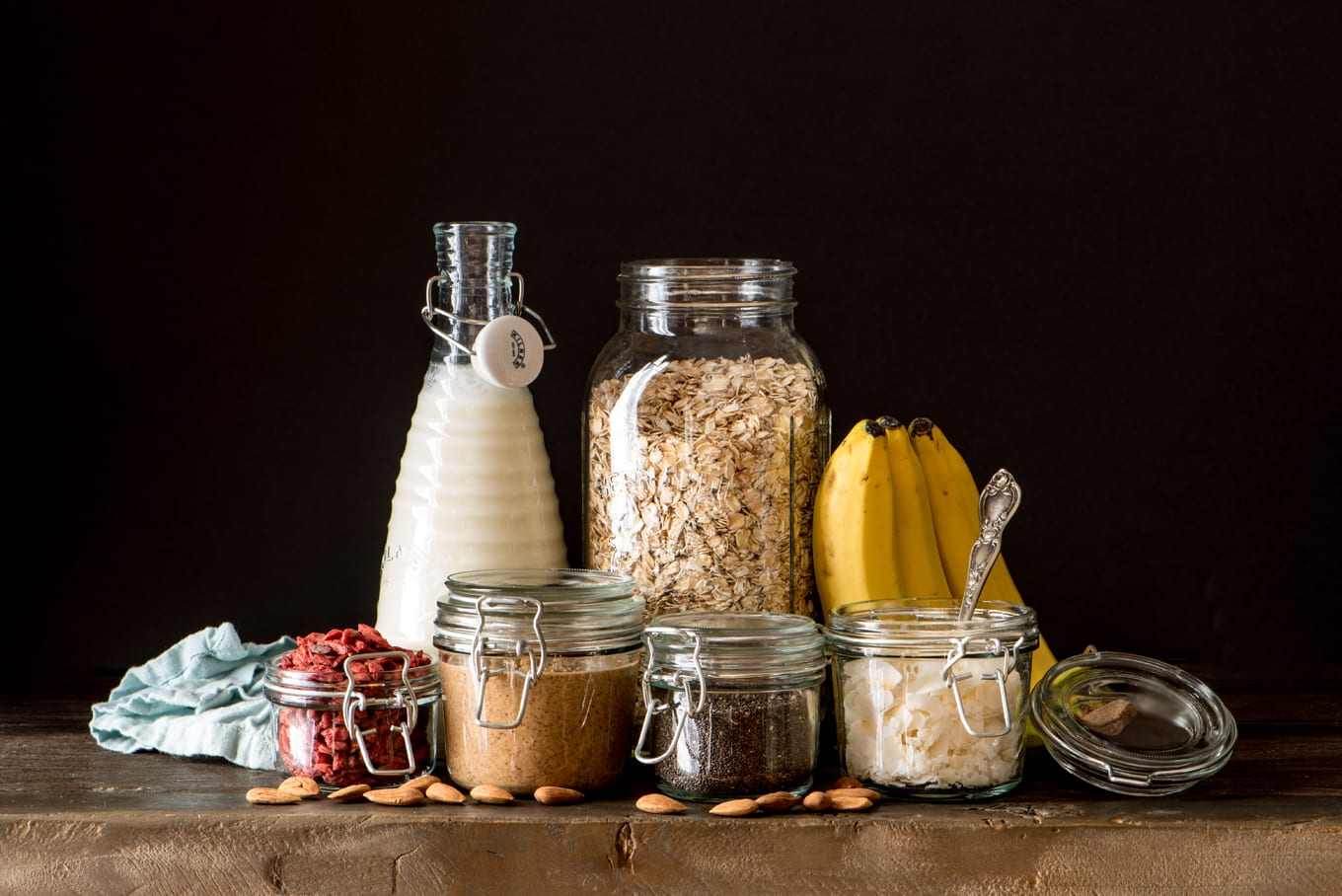 recipe ingredients in jars