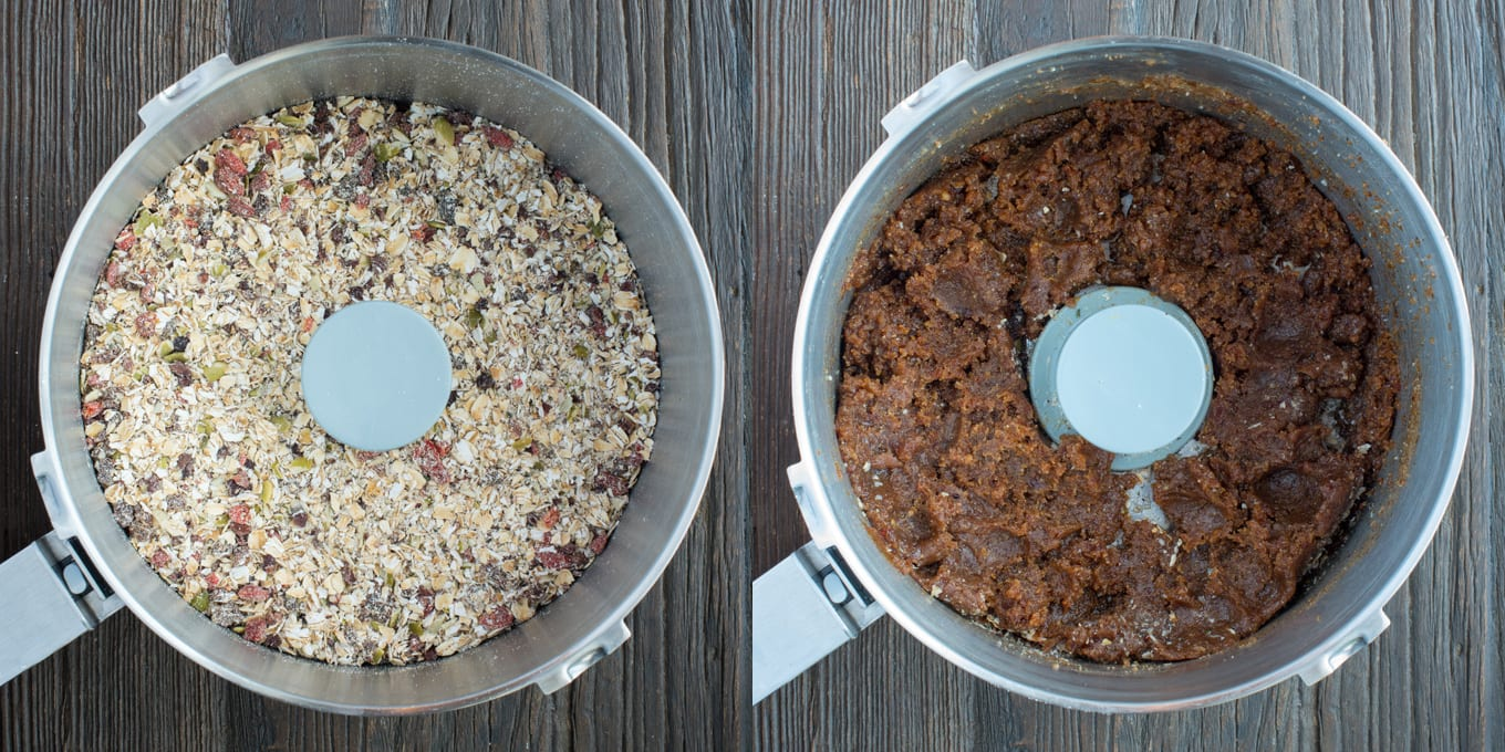 Two food processor bowls - one with dry ingredients and one with wet ingredients