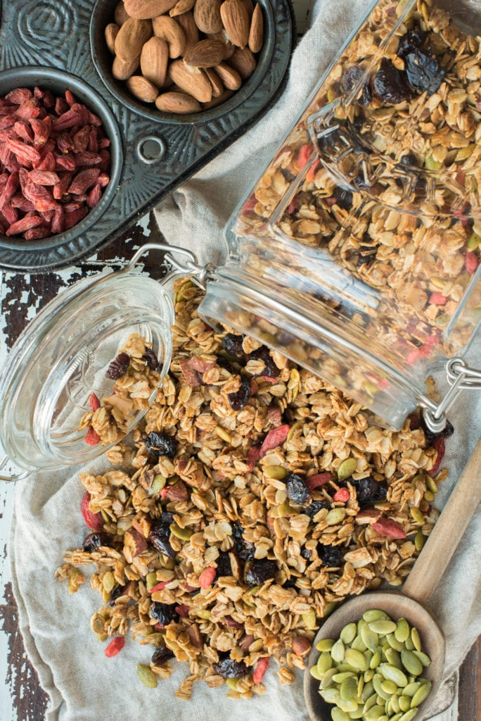 crunch maple almond granola in jar