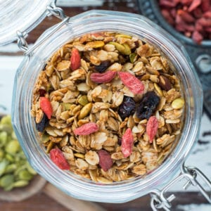 granola in preserving jar