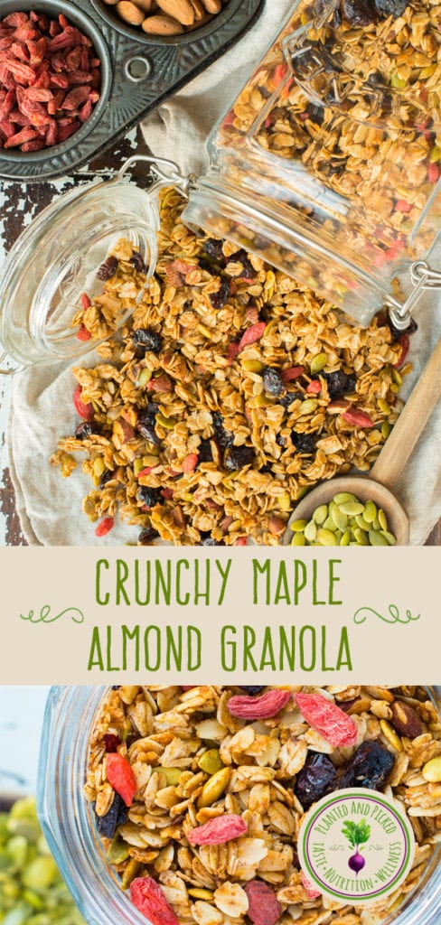 crunchy maple almond granola in jars pinterest post