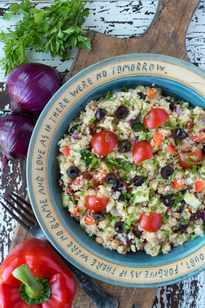 loaded green quinoa salad in bowl