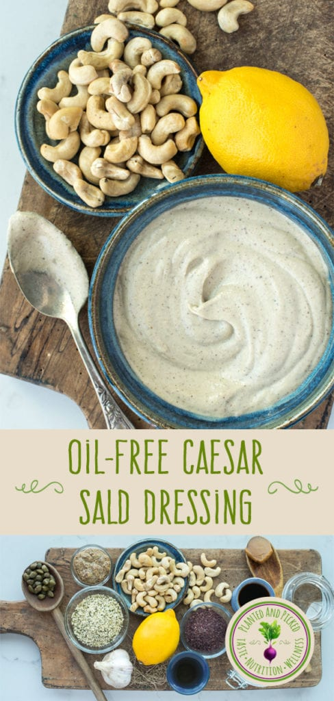 oil-free caesar salad dressing in bowl and ingredients on cutting board pinterest image