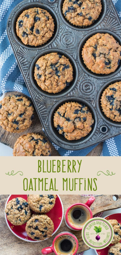 blueberry oatmeal muffins in muffin tin and on plates - pinterest image