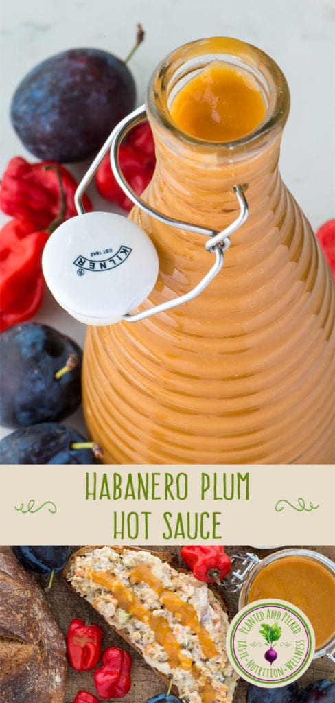 habanero plum hot sauce in bottle pinterest image