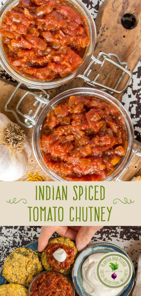 indian spiced tomato chutney in jars - pinterest image