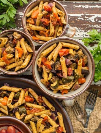 ratatouille pasta salad in bowls