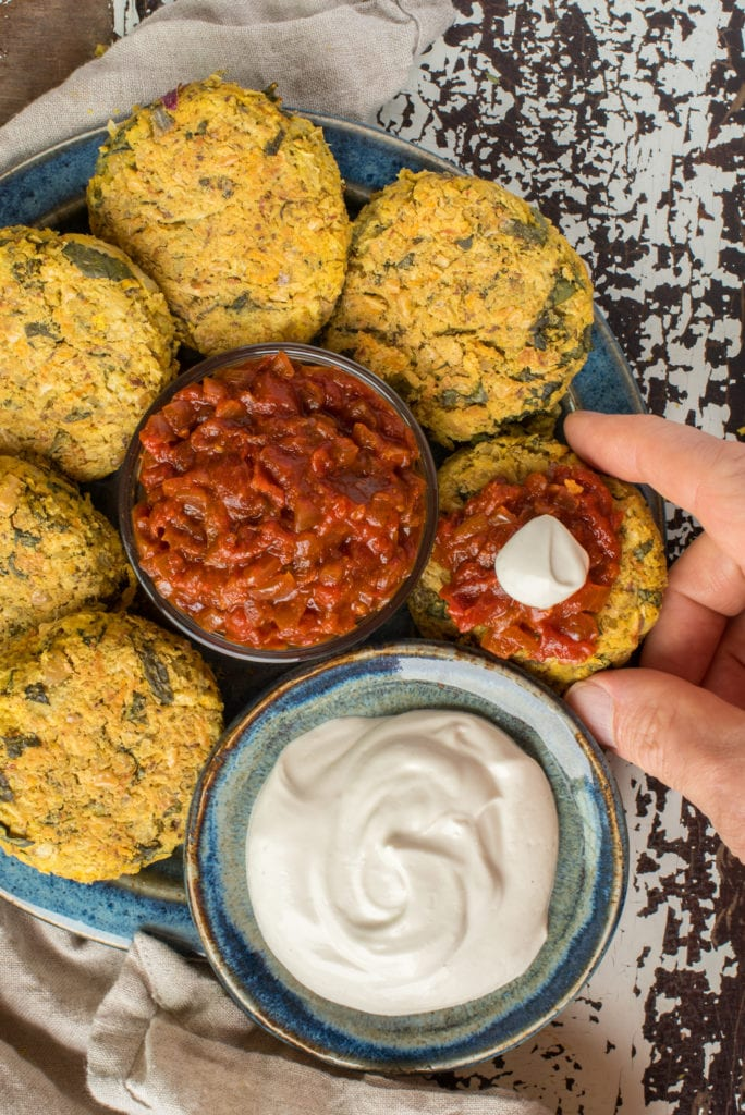 white bean and artichoke patties on plate