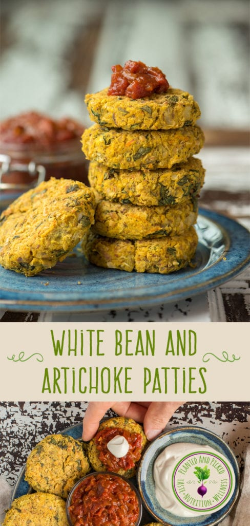 white bean and artichoke patties on plate - pinterest image