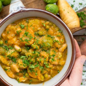 autumn vegetable and white bean stew in bowl