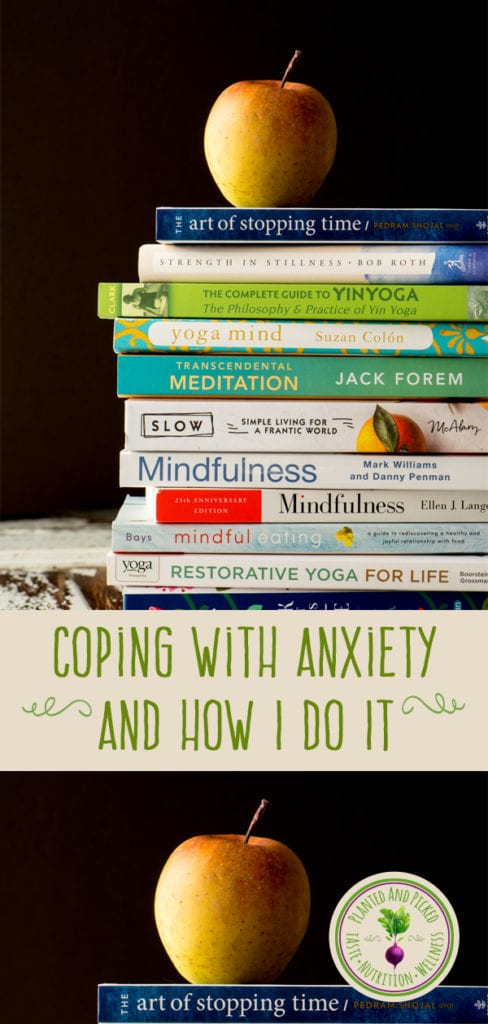 coping with anxiety books in stack - pinterest image