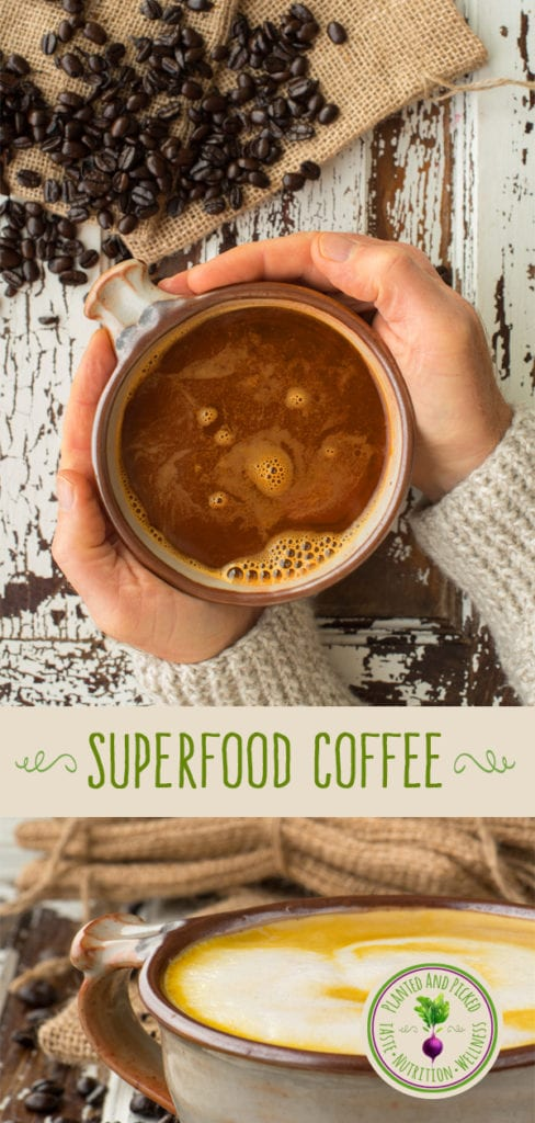 superfood coffee in cup held by hands - pinterest image