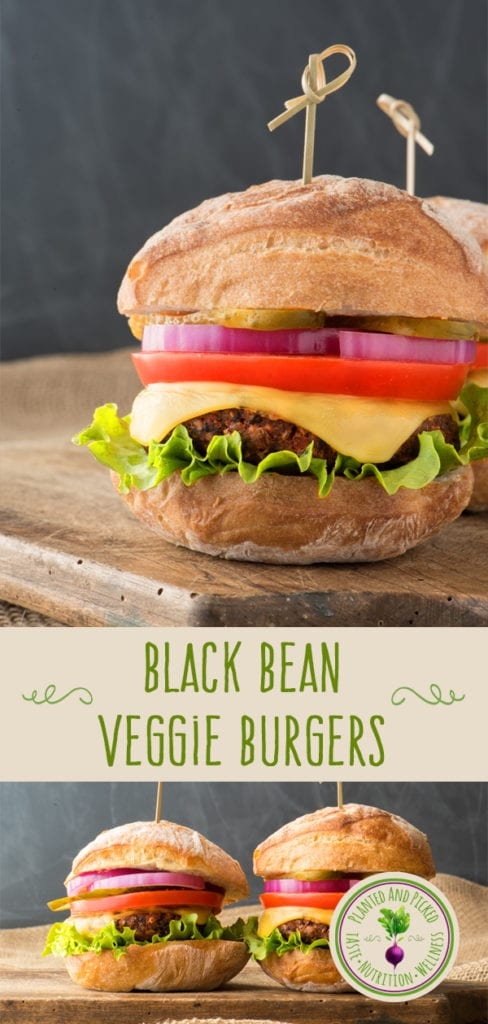 black bean veggie burgers on cutting board - pinterest image