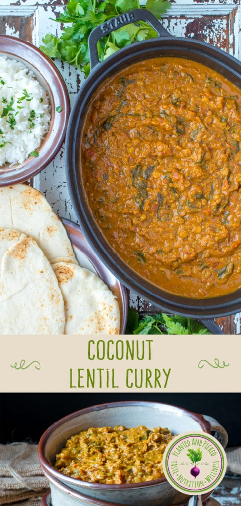 coconut lentil curry in pot and bowl - pinterest image