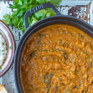 coconut lentil curry in pot