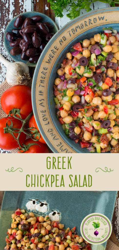 greek chickpea salad in bowl and on plate - pinterest image