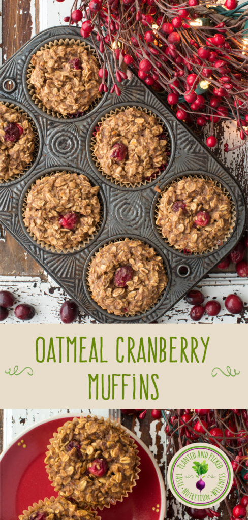 oatmeal cranberry muffins in muffin tin and on plate - pinterest image