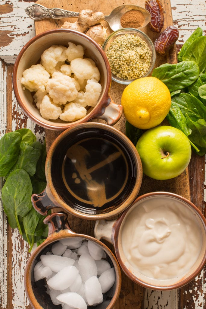 recipe ingredients in bowls and on cutting board
