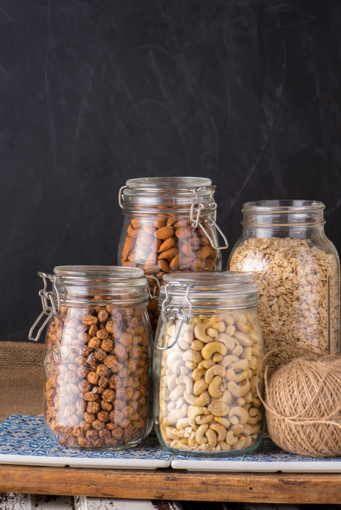 nuts and oats in jars