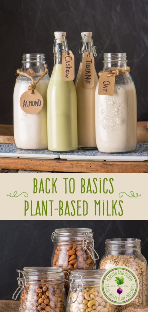plant based milks in bottles - pinterest image