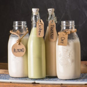 plant based milks in bottles