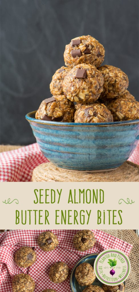 seedy almond butter energy bites in pottery bowl and on plate and checked cloth - pinterest image