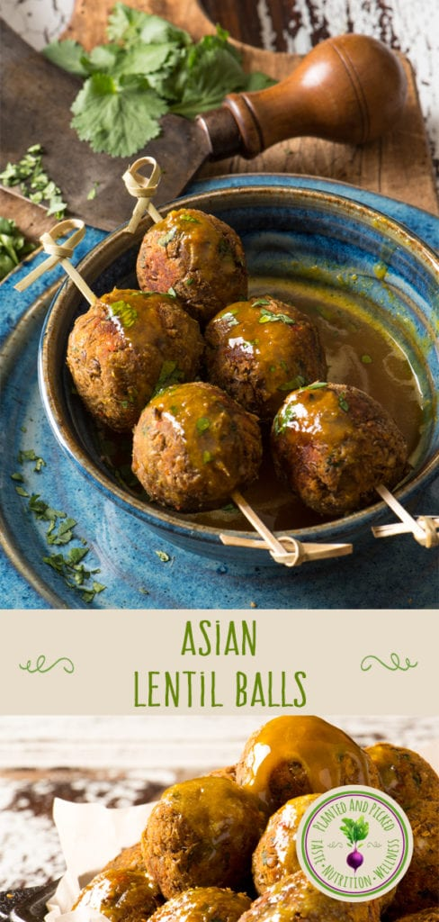 asian lentil balls on skewers in bowl - pinterest image