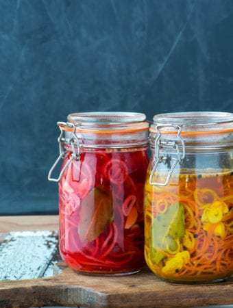 pickled radish and carrot in jars