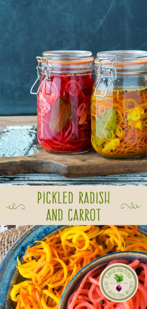 pickled radish and carrot in jars and on plates - pinterest image