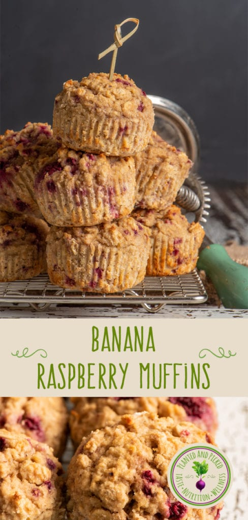 banana raspberry muffins on cooling rack - pinterest image