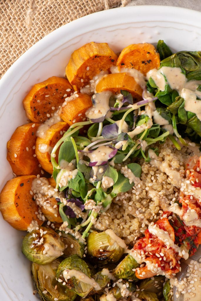 vegetables and quinoa in dishes