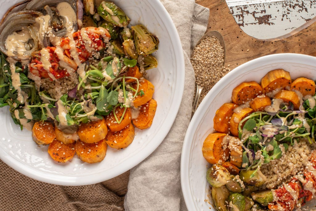 vegetables and quinoa in two bowls