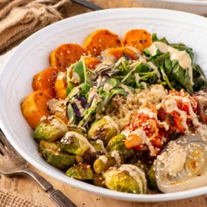 basic buddha bowl with vegetables and quinoa in bowl