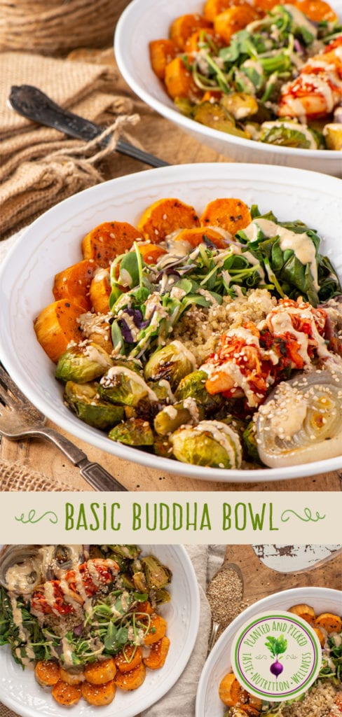 basic buddha bowl with vegetables and quinoa in bowls - pinterest image
