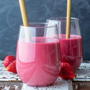 pretty in pink smoothie in two glasses