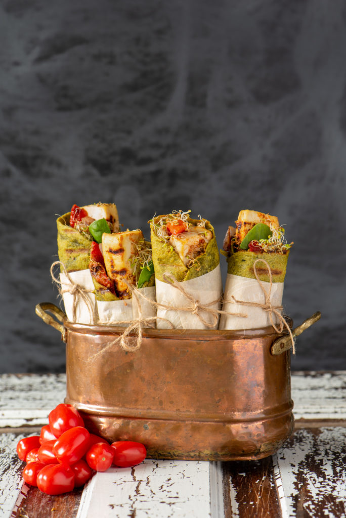 vegetable wraps in copper bowl