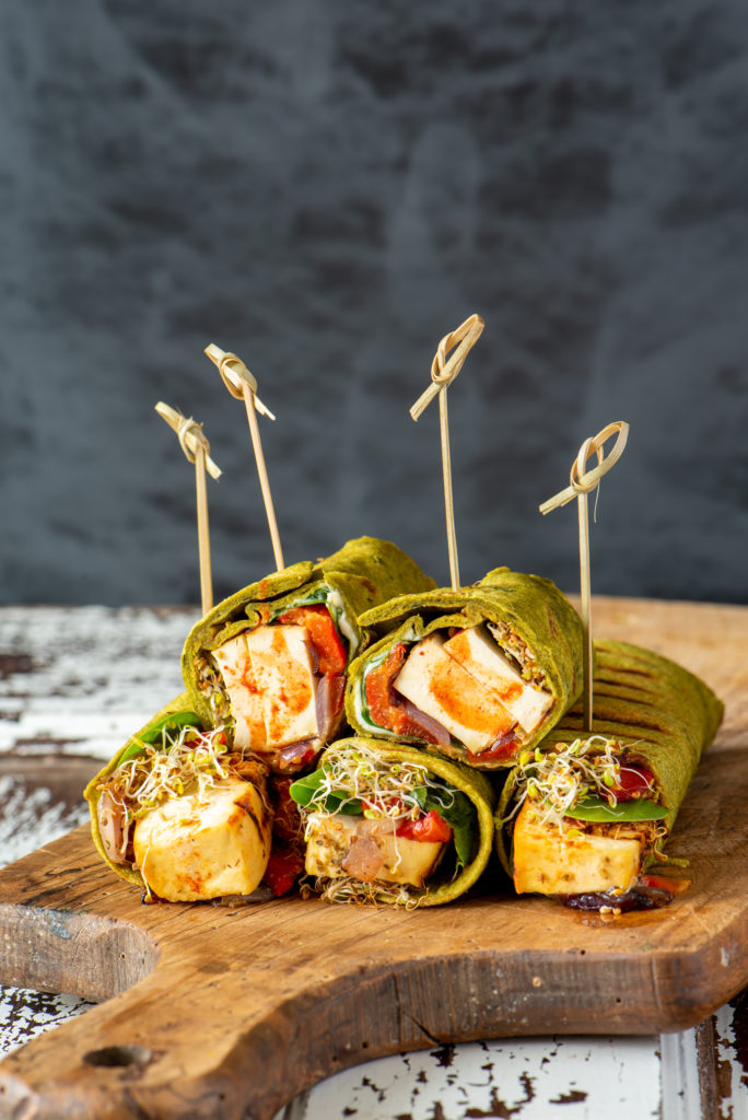 grilled vegetable and tofu wraps on board