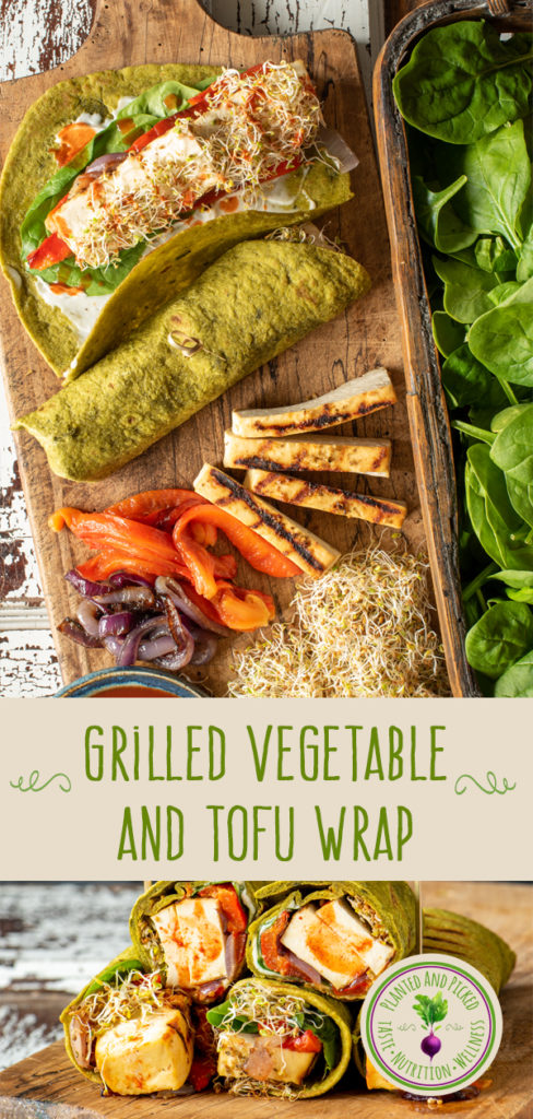 grilled vegetable and tofu wrap on board - pinterest image