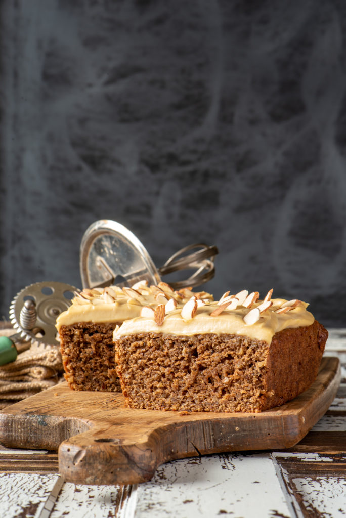maple almond coffee cake on board