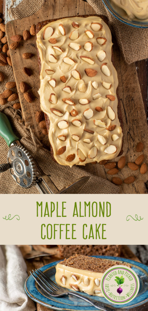 maple almond coffee cake on board and plate - pinterest image